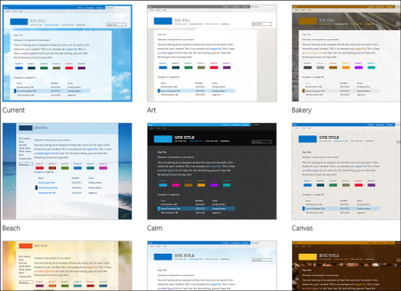 Office 365 template selection page, showing optional templates for public site layout and theme