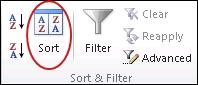 Sort command in the Sort & Filter group on the Data tab in Excel