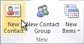 New Contact command on the ribbon