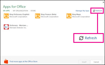 Apps for Office Refresh button