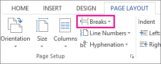 The insert break command on the Page Layout tab