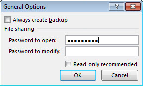 The General Options dialog box.