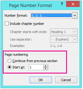Set the starting page number