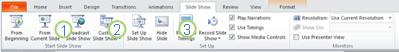 The Slide Show tab in the PowerPoint 2010 ribbon.