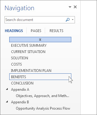 Browse by headings in the Navigation pane