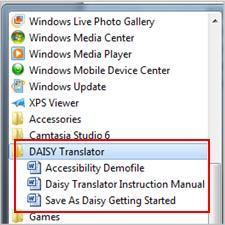 Start menu showing Daisy files after installation