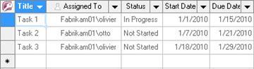 A datasheet view