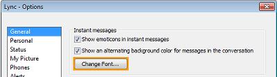 Change Instant Message Font