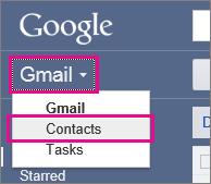 google gmail - click contacts