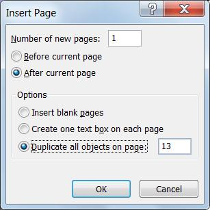 Dialog box for inserting a Publisher page