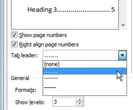 Dot leader option in the table of contents dialog box