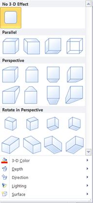 WordArt 3-D effects options in Publisher 2010