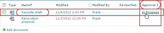 Clicking workflow status link