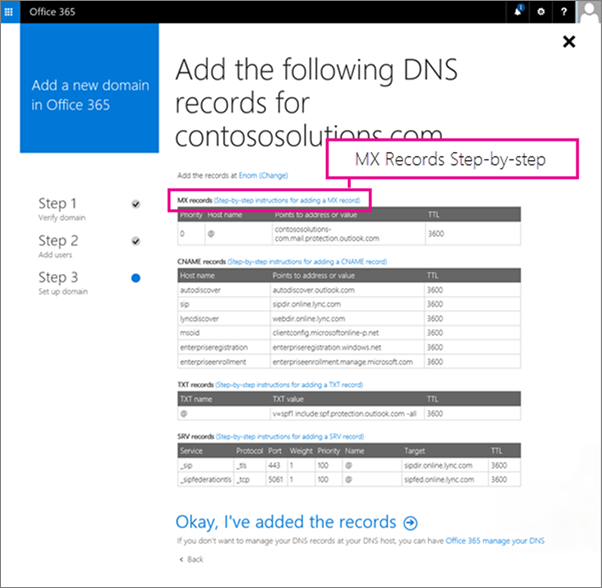 Choose the MX record step-by-step link
