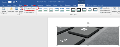 Compress Picture button in the Adjust group on the Picture Tools Format tab