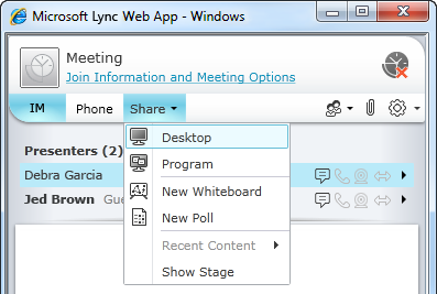 Lync Web App Share menu