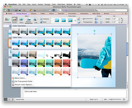 PowerPoint interface showing the Office for Mac ribbon