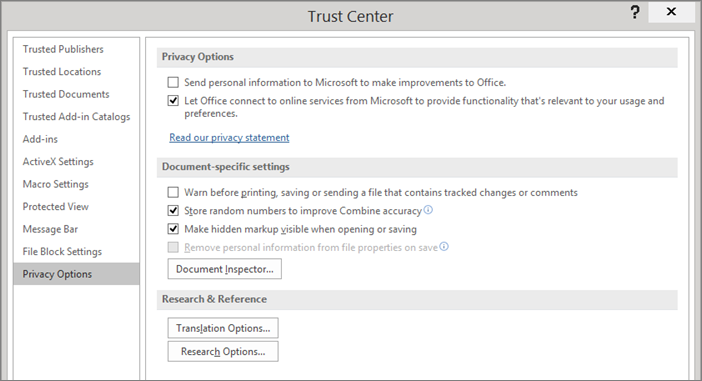 The privacy options are shown in the Office Trust Center