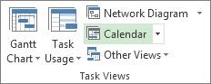 View tab, Task Views group, Calendar button.