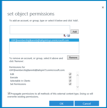 A screenshot of the Set Object Permissions dialog for Business Connectivity Services in SharePoint Online.