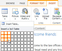 Insert a table on the SharePoint Online public website