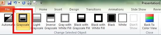 PowerPoint grayscale tab with grayscale selected