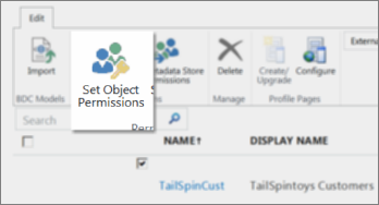 Screenshot of SharePoint Online Admin Center under BCS. Shows the Set Object Permissions button in the ribbon.