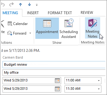 Take notes in an Outlook meeting