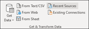 Get External Data group on Data tab