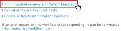 Add or update reviewers of Collect Feedback link on Workflow Status page