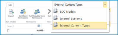 Screenshot of view selection for BCS data catalog views.