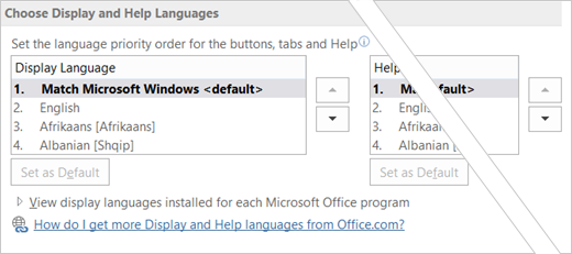 Office 2016 set language preference