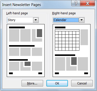 Add new pages to your newsletter with the Insert Newsletter Pages dialog.