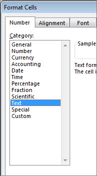 Text option selected