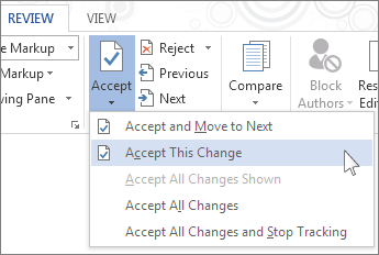 Accept This Change on the Accept menu