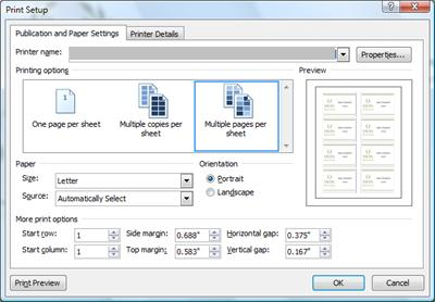 Print dialog box with Multiple pages per sheet option