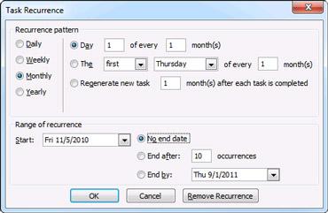 Task Recurrence dialog box