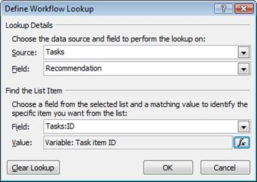 Lookup to the Task item ID variable