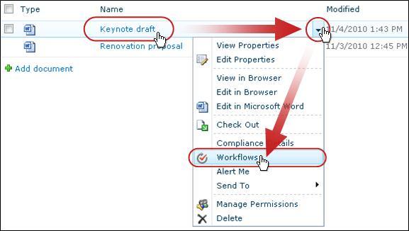 Clicking Workflows on pulldown menu