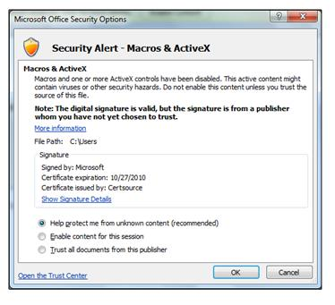 Security Options dialog, trust a publisher