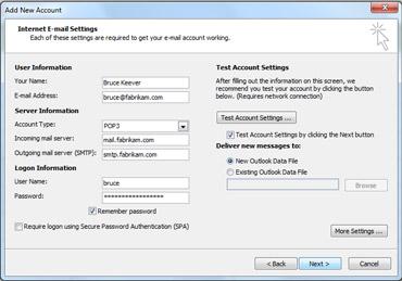 Manual account setup dialog box