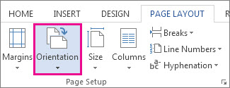 Page orientation options
