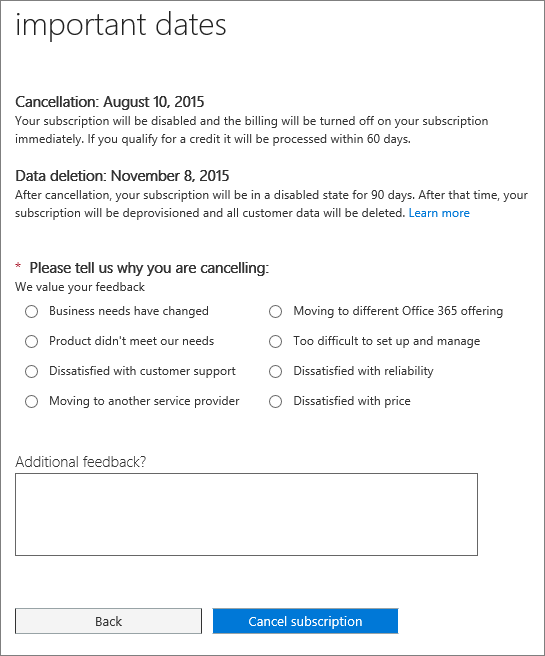 Screen shot of the Cancel subscription page.