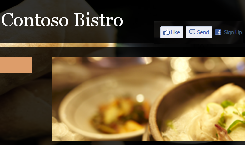 The Contoso Bistro home page with several FaceBook plugins added.