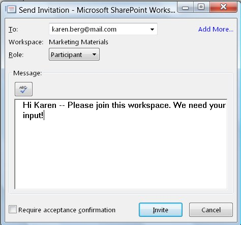 Send Invitation dialog box