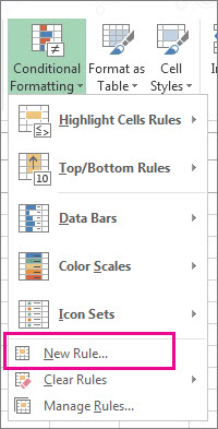 Conditional Formatting button on the Home tab