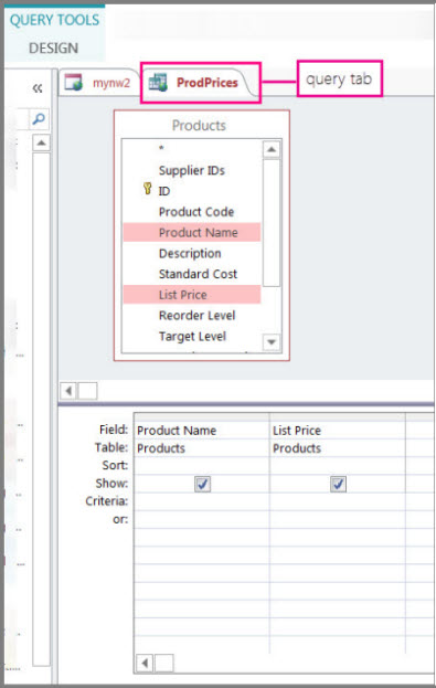 Query designer view highlighting the query tab