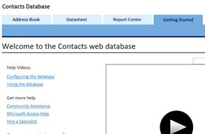 getting started screen for contacts database template