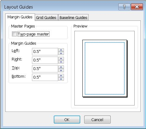 Publisher Layout Guide dialog box