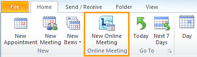 New Online Meeting button in the Outlook Calendar